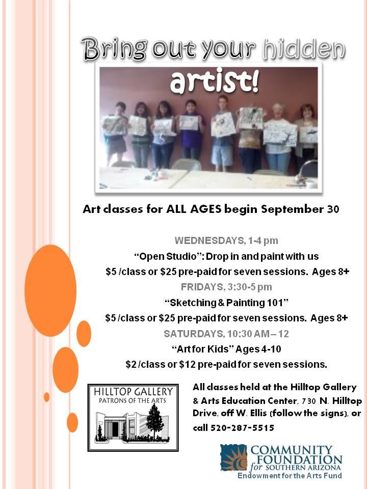 Hilltop - art class flyer Fall